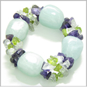 Amulet Tumbled Aquamarine Crystals with Peridot, Crystal Quartz, Amethyst Chips Good Luck Protection Powers Gemstone Bracelet