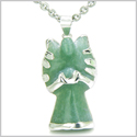"Brazilian Crystal Praying Angel Charm Green Aventurine Good Luck Powers Amulet Silver Electroplated Pendant 18"" Steel Necklace"