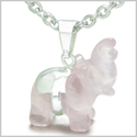 "Brazilian Crystal Lucky Elephant Rose Quartz Love Powers Amulet Silver Electroplated Charm Pendant on 18"" Steel Necklace"