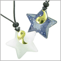 Lucky Best Friends Yin Yang Snowflake Crystal Quartz and Blue Gold Stone Star Gemstones Friendship Necklaces